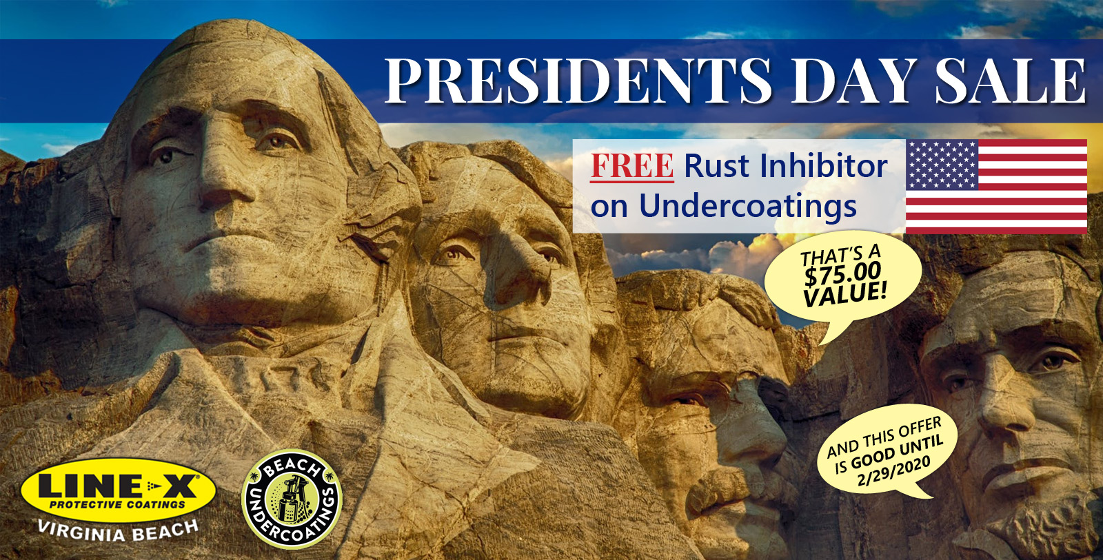 Presidents Day Sale - FREE Rust Inhibitor on Undercoatings!