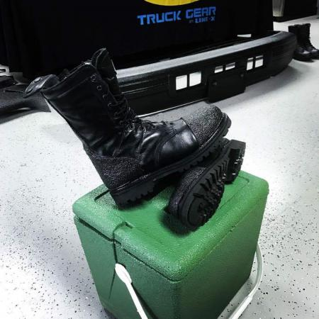 Steel toe work boots sprayed for a Norfolk police officer!