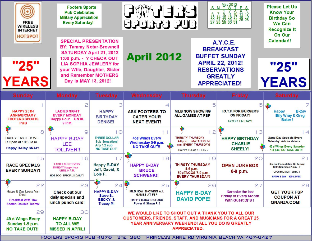 Footers April Calendar